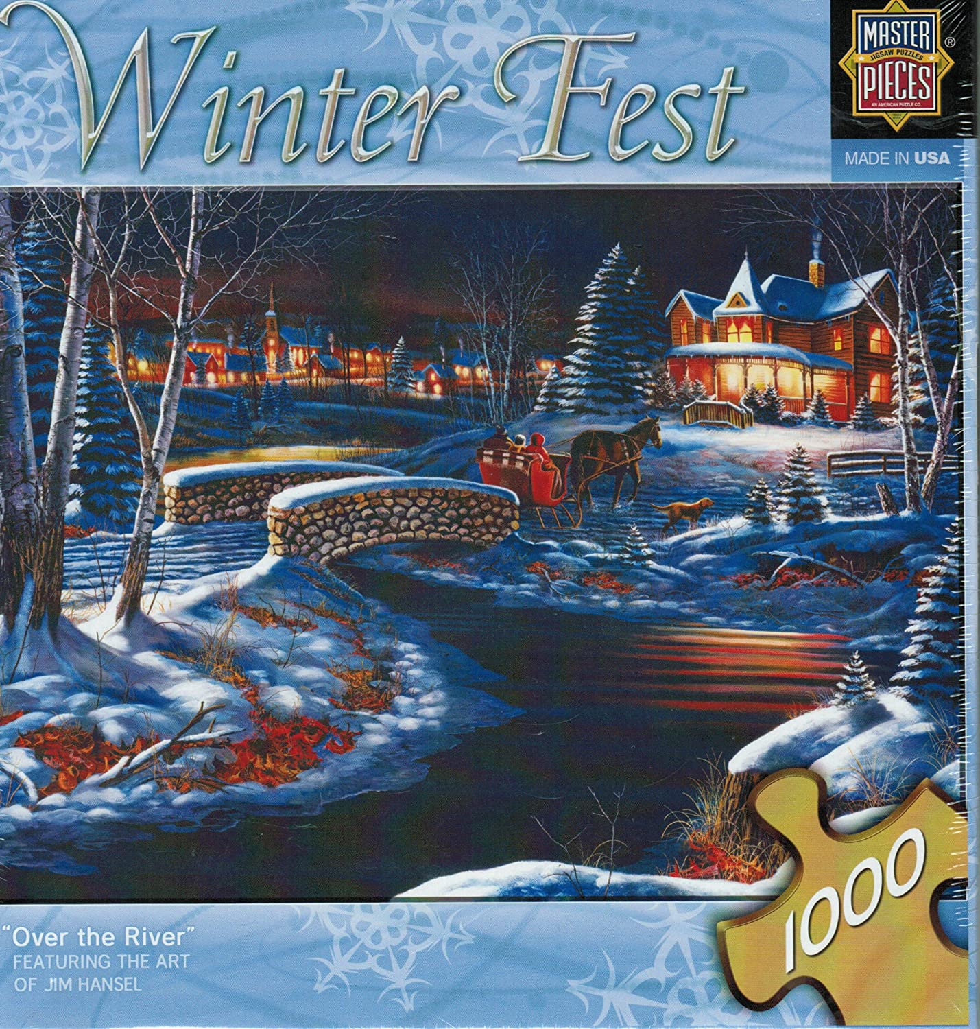 Winter Fest Over the River by Jim Hansel 1000 piece Jigsaw Puzzle Masterpieces Puzzle Co.