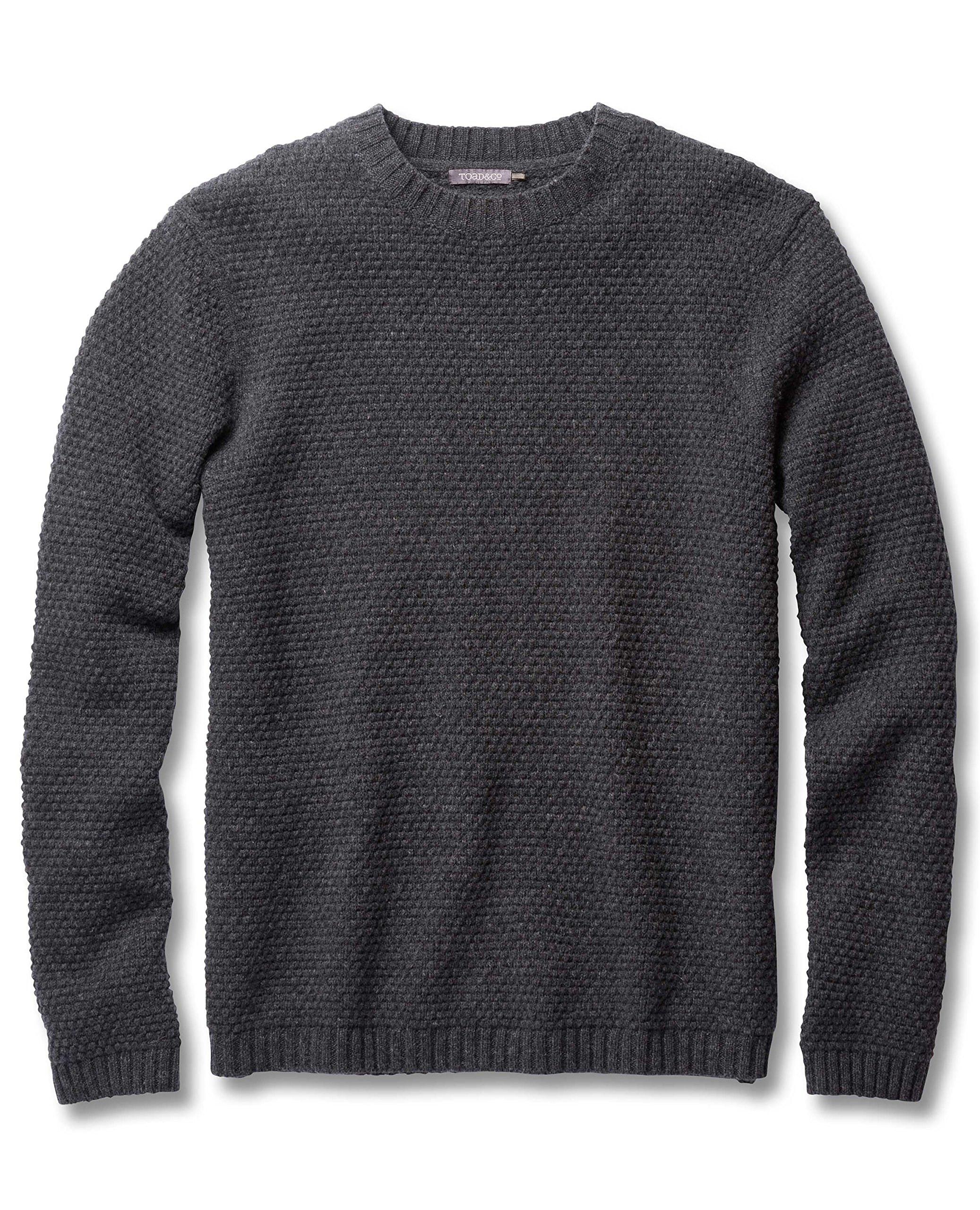 Toad&Co Men's Malamute Crew Sweater, Charcoal Heather, X-Large