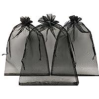 "Ankirol 100pcs Sheer Organza Favor Bags 8 X 12"" Large Organza Drawstring Bags (Black)"
