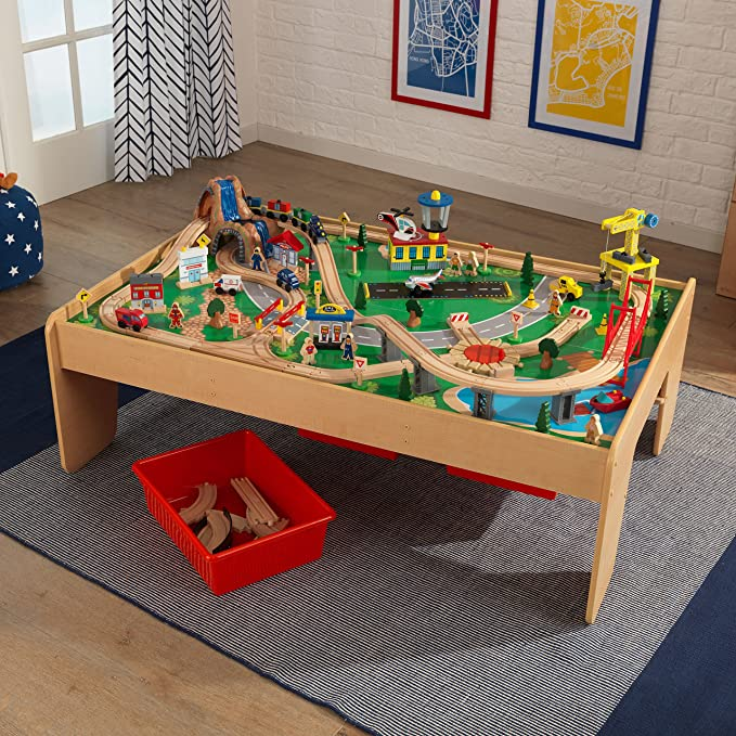 Kidkraft 17850 Waterfall Mountain Wooden Train Track Set Table For
