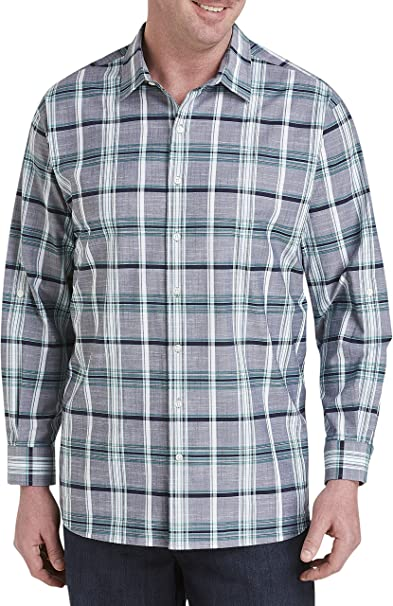 Synrgy by DXL Big and Tall Large Plaid Microfiber Sport Shirt