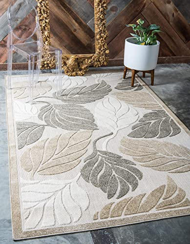 Unique Loom Outdoor Botanical Collection Warm Colors Leafs Transitional Indoor and Outdoor Flatweave Beige Area Rug 9 0 x 12 0