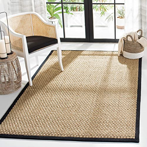 Safavieh Natural Fiber Collection NF114C Basketweave Natural and Black Summer Seagrass Area Rug 5' x 8'