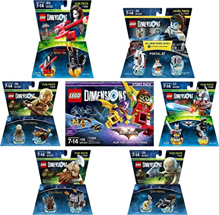 Lego Batman Movie Story Pack + Excalibur Batman Fun Pack + Portal 2 Level Pack + Adventure Time Marceline The Vampire Queen + The Lord Of The Rings Legolas Gimli Gollum Fun Packs - LEGO Dimensions