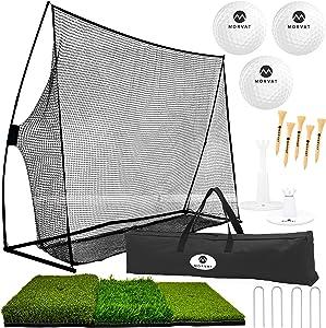 Morvat Golf Net Set, Golf Practice Mat, Golf Pitching Net Accessories, Golf Nets for Backyard Driving, Golf Training Aid | Golf Balls, Adjustable Tees, Wooden Tees, Travel Golf Bag, Indoor Outdoor Use