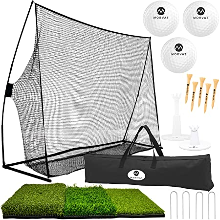 Morvat Golf Net Set, Golf Practice Mat and Golf Accessories, Golf Target Net for Backyard Driving Golf Balls, Adjustable Tees, Wooden Tees and Carry Bag for Indoor and Outdoor Use