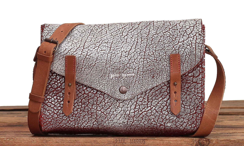 Paul Marius LINDISPENSABLE Brique Argent/é Sac bandouli/ère en cuir de buffle pleine fleur style vintage sacoche