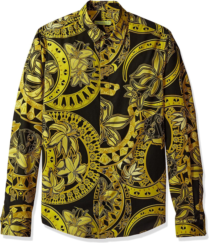 Versace Jeans Hombre EB1GPB6S0-ES0036-E899 Camisa con botones - Negro - (Large): Amazon.es: Ropa y accesorios