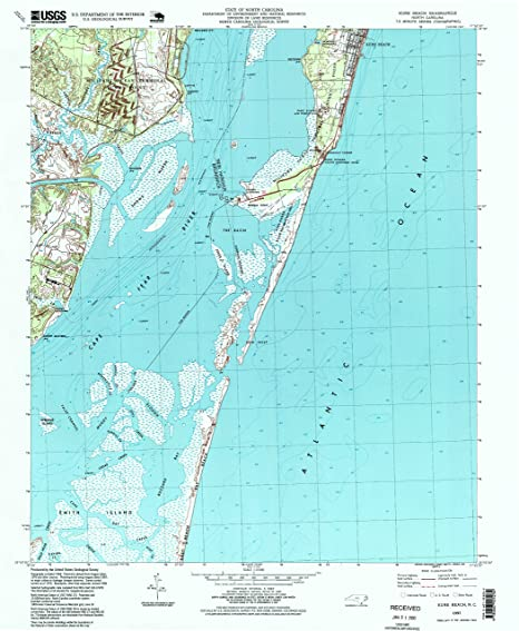 Amazon com : YellowMaps Kure Beach NC topo map, 1:24000