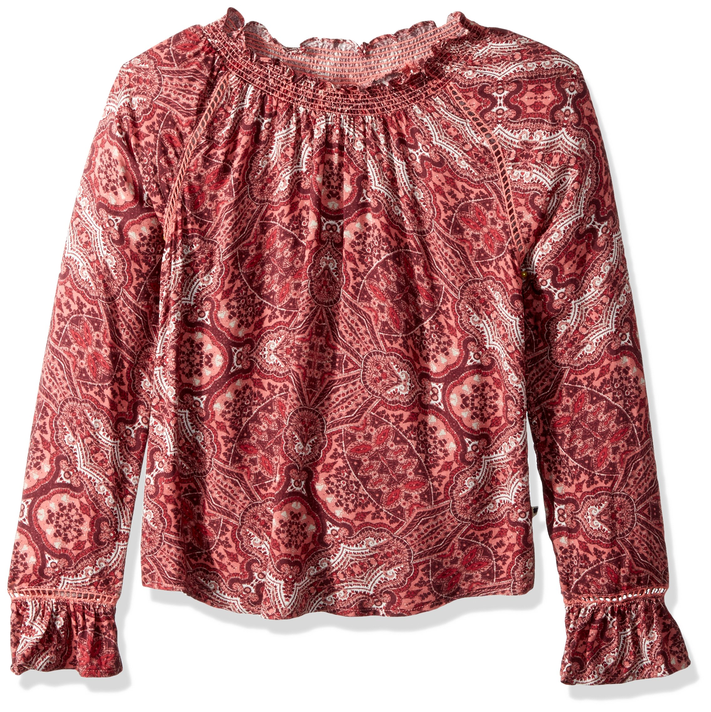 Lucky Brand Big Girls' Skyler Printed Peasant Top, Skyler Chrysanthemum, Medium (8/10)
