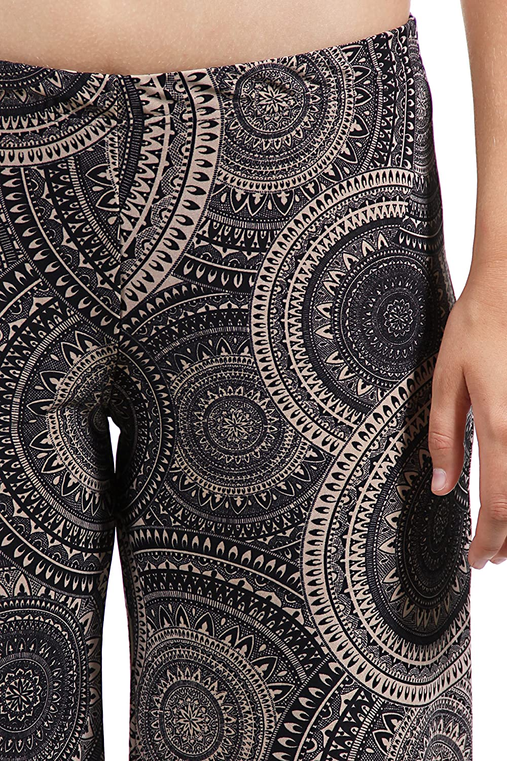 24/7 Comfort Apparel Women's Cream&Black Oriental Patterned Palazzo Pants 508CRT