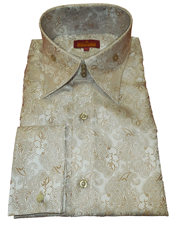 Sangi 1026 Mens Shiny Tan Ornate Royalty High Collar French Cuff