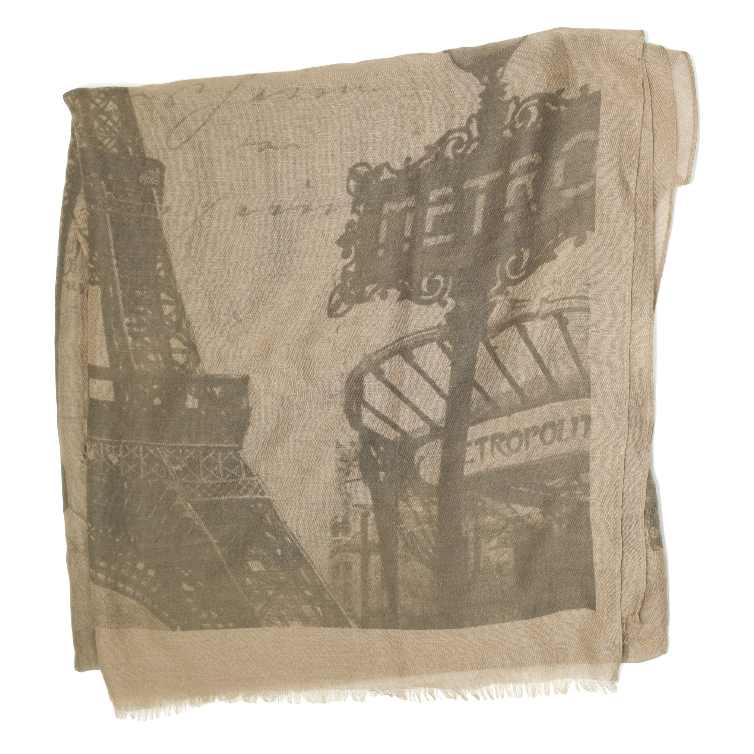Bucasi I Love Paris Eiffel Tower Scarf with Fringe