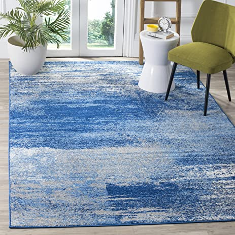 Safavieh Adirondack Collection ADR112F Silver And Blue Modern Abstract Area  Rug (8u0027 X 10