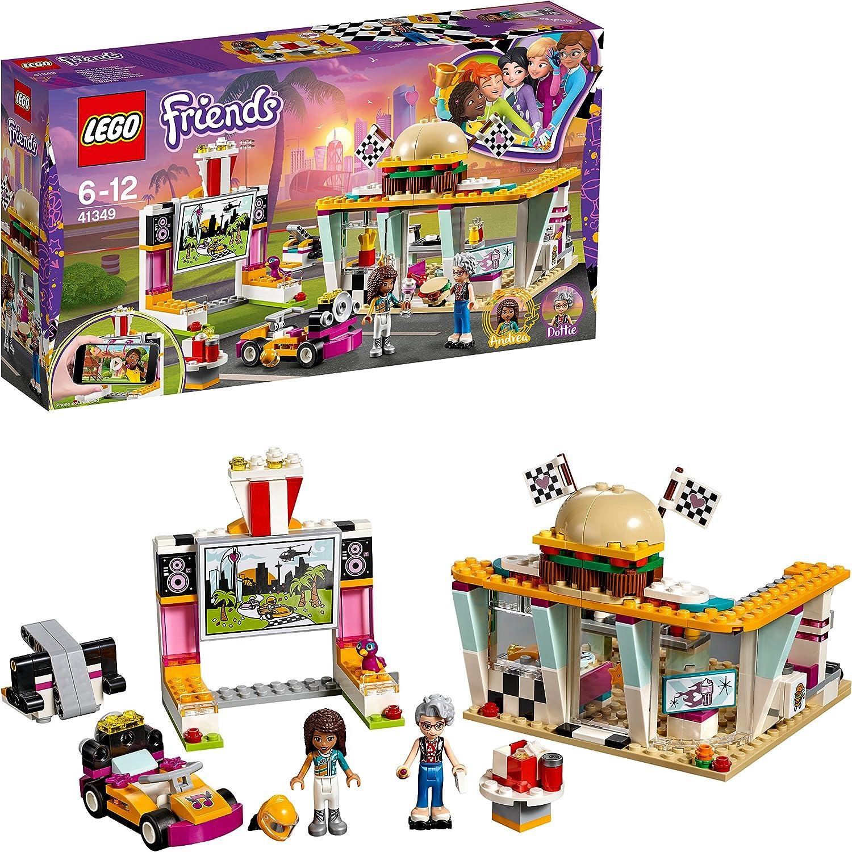 LEGO Friends - Cafetería de Pilotos, Juguete con Mini Muñecas y Kart para Crear y Construir Divertidas Carreras y Aventuras con Andrea y Pepper para Niñas y Niños de 6 a 12
