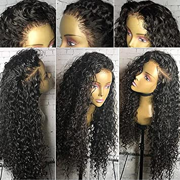 Amazon.com   Full Lace Wigs for Black Women 150% Density Curly Full Lace  Front Wig Virgin Human Hair Wigs with Baby Hair (14 inch 3b007a8d9a06