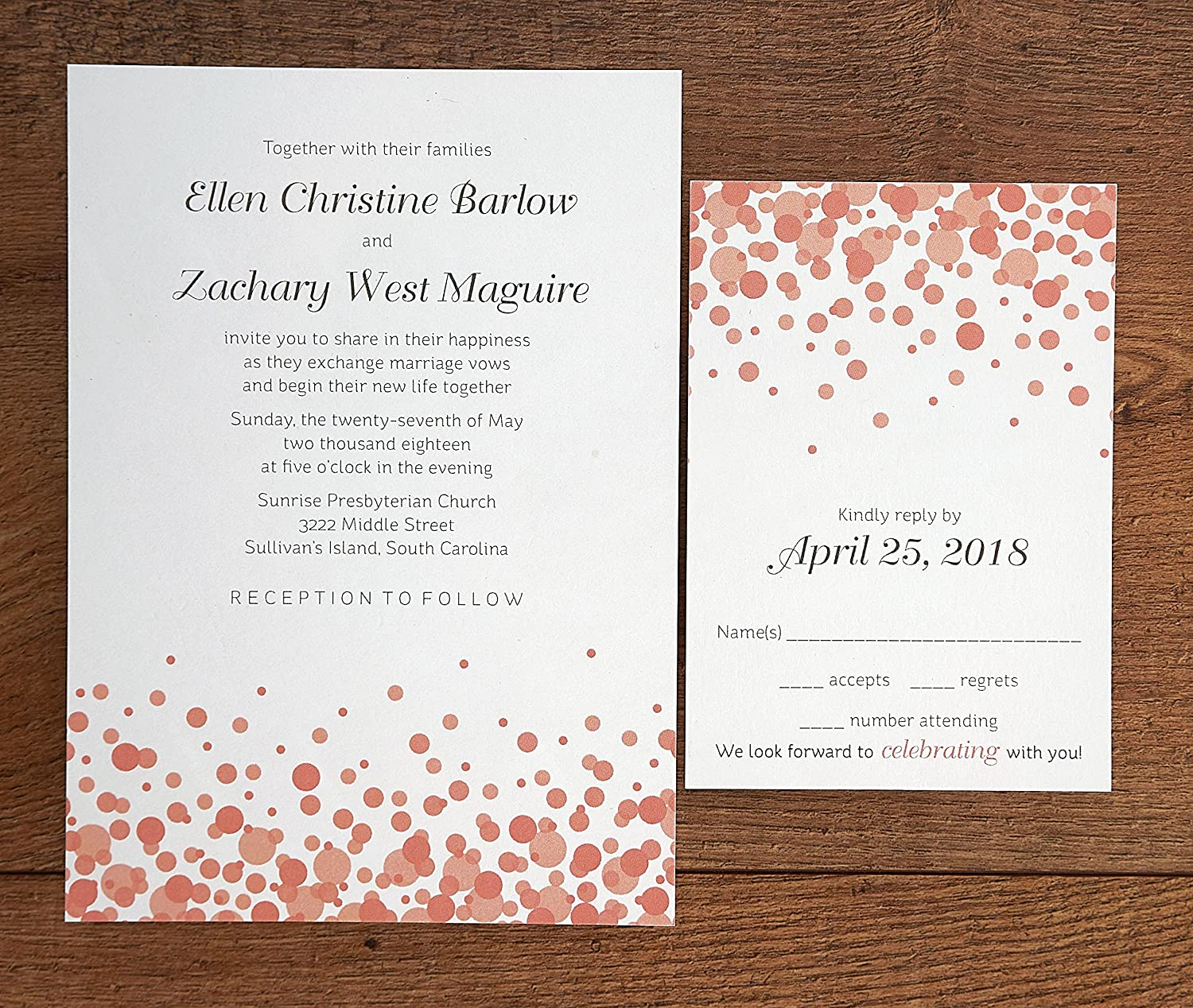 graphic relating to Printable Rsvp Card called Confetti Printable Wedding day Invites - Preset of 50 - BV1010