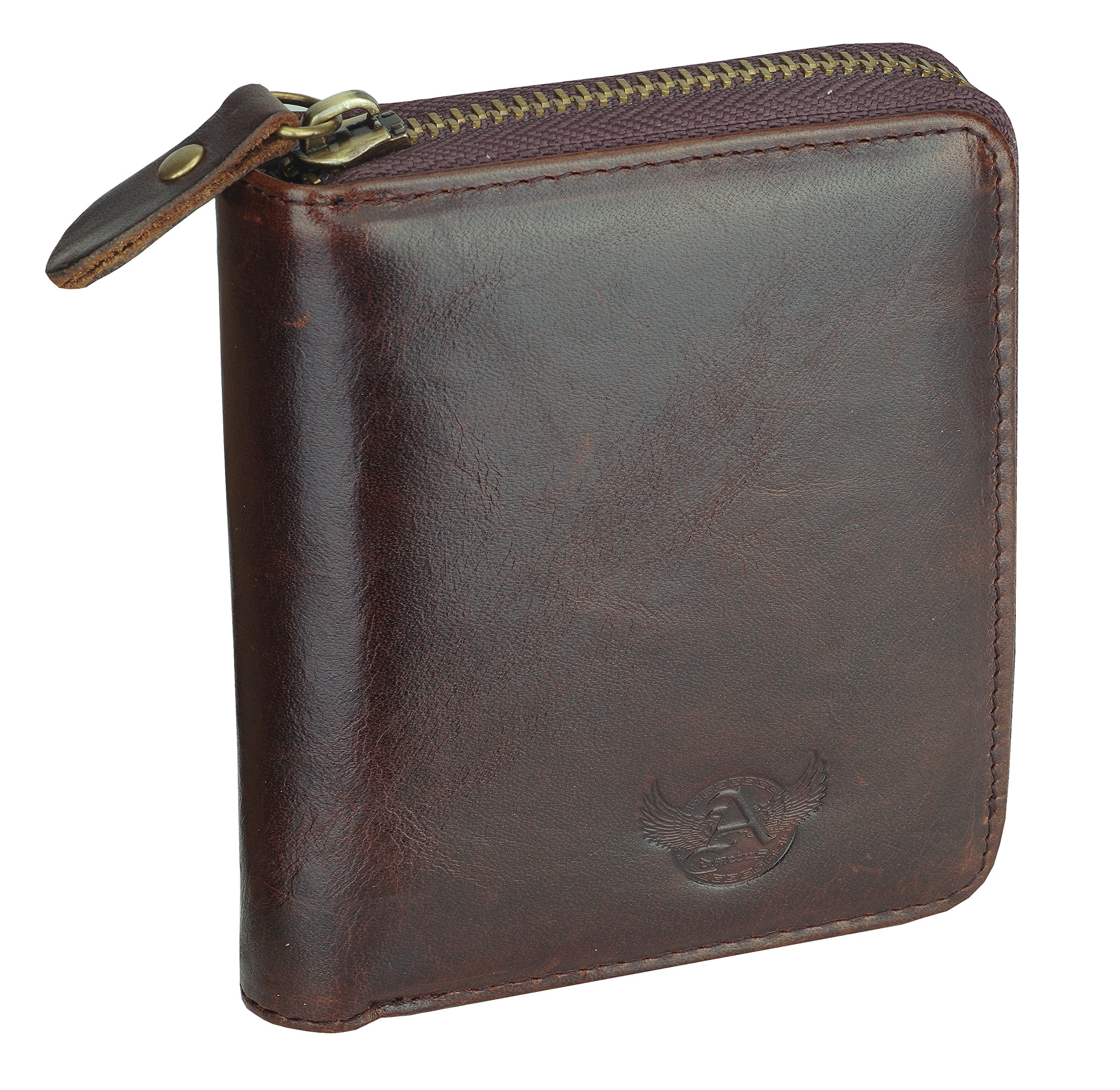 Admetus Men's Genuine Leather Short Zip-around Bifold Wallet Exquisite box Christmas Gift Brown10