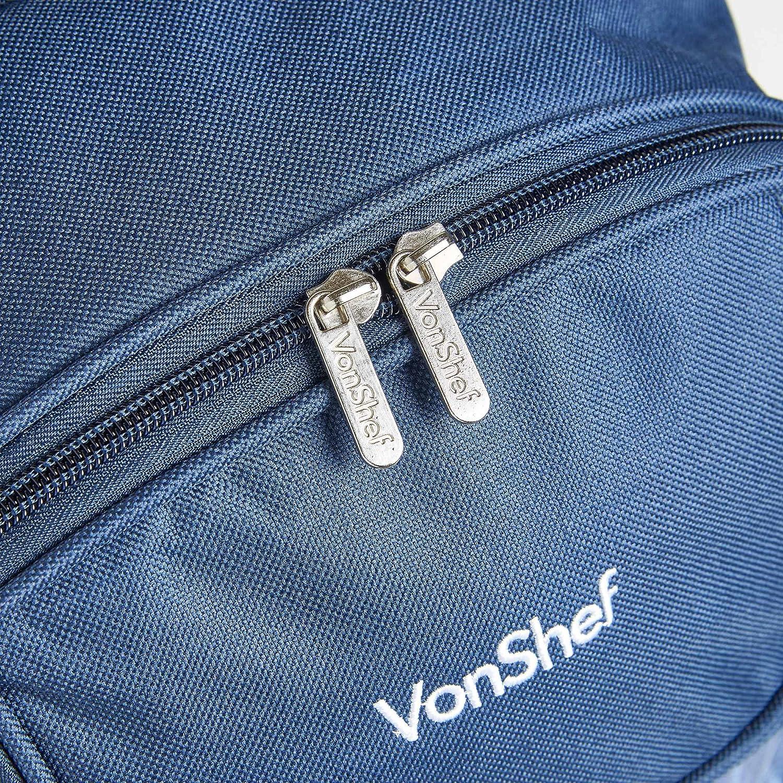 VonShef Mochila de Picnic para 4 Personas Vajilla y Manta de Lana Compartimiento Isot/érmica Azul Tart/án