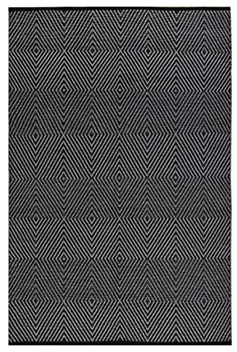 Fab Habitat Reversible Cotton Area Rugs Rugs for Living Room, Bathroom Rug, Kitchen Rug Machine Washable Zen – Black Bright White 3 x 5