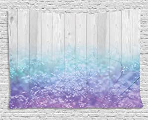 Ambesonne Wooden Decor Tapestry, Dreamy Abstract Garden Perennial Petals Branches in Pastel Colors Artwork, Wall Hanging for Bedroom Living Room Dorm, 80 W X 60 L Inches, Lavender Blue