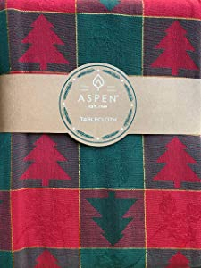 Aspen Home Fabric Tablecloth Classic Vintage Christmas Pattern with Primitive Woodblock Style Trees Jacquard Weave in Red and Green with Gold Tinsel Thread Highlights (60 Inches Round)