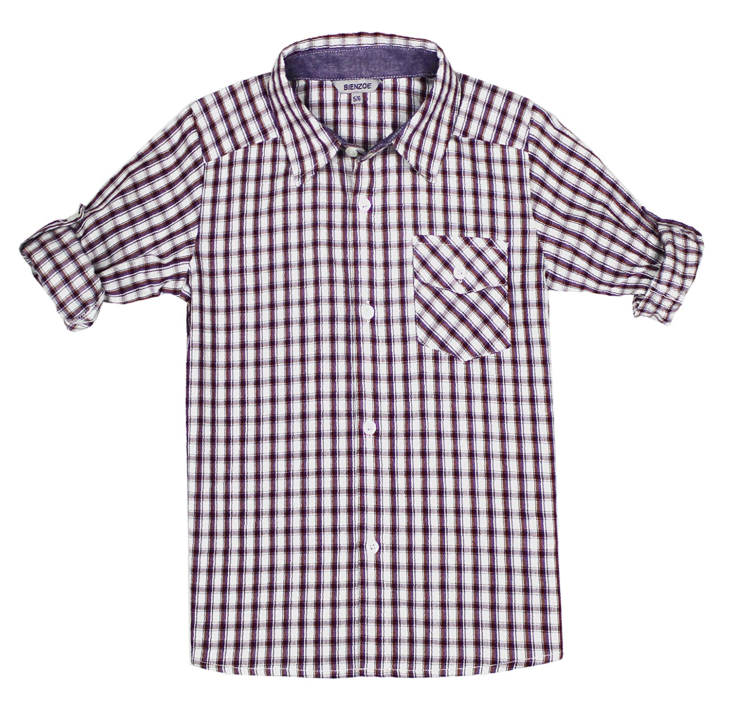 Bienzoe Boy 's Cotton Plaid Roll Up Sleeve Button Down Sports Shirts 160056EU