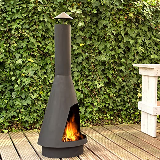 160CM Extra Large Chimenea de Jardin El Classico XL - chimenea de exterior con un acabado en negro resistente al calor: Amazon.es: Jardín