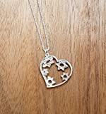 """Bat Mitzvah Jewish Stars Necklace + Heart Jewelry by Alef Bet Jewelry Strung on an 18"""" Sterling Silver Box Chain"""