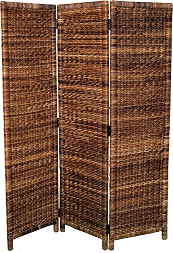 BIRDROCK HOME 3 Panel Seagrass Room Divider – Folding Sections – Partition Screen – Handwoven Abaca – Home Decor