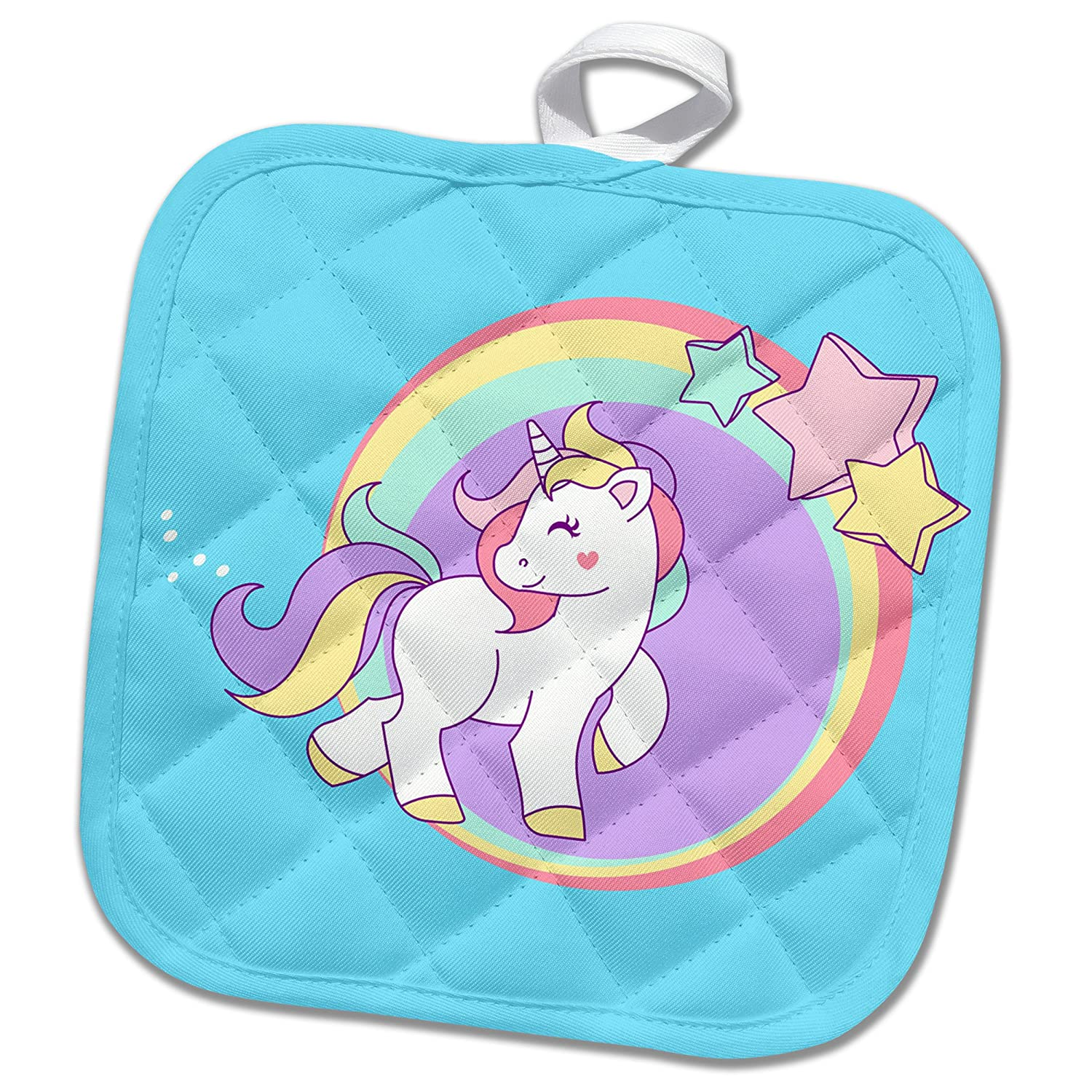 3D Rose Prancing Pastel Unicorn with Circles and Stars Pot Holder 8 x 8