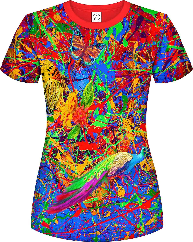 aofmoka Neon UV 3D Blacklight Handmade Art Vivid Pop Colors Party Women T-Shirt