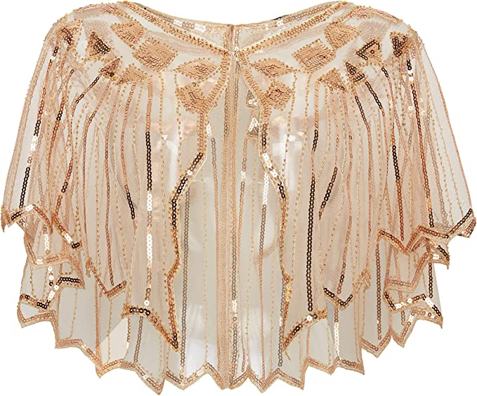 Shawls & Wraps | Fur Stole, Lace, Fringe ArtiDeco Sequin Beaded Art Deco Evening Cape Womens 1920s Shawl Wedding Party Shawl Scarf £15.99 AT vintagedancer.com