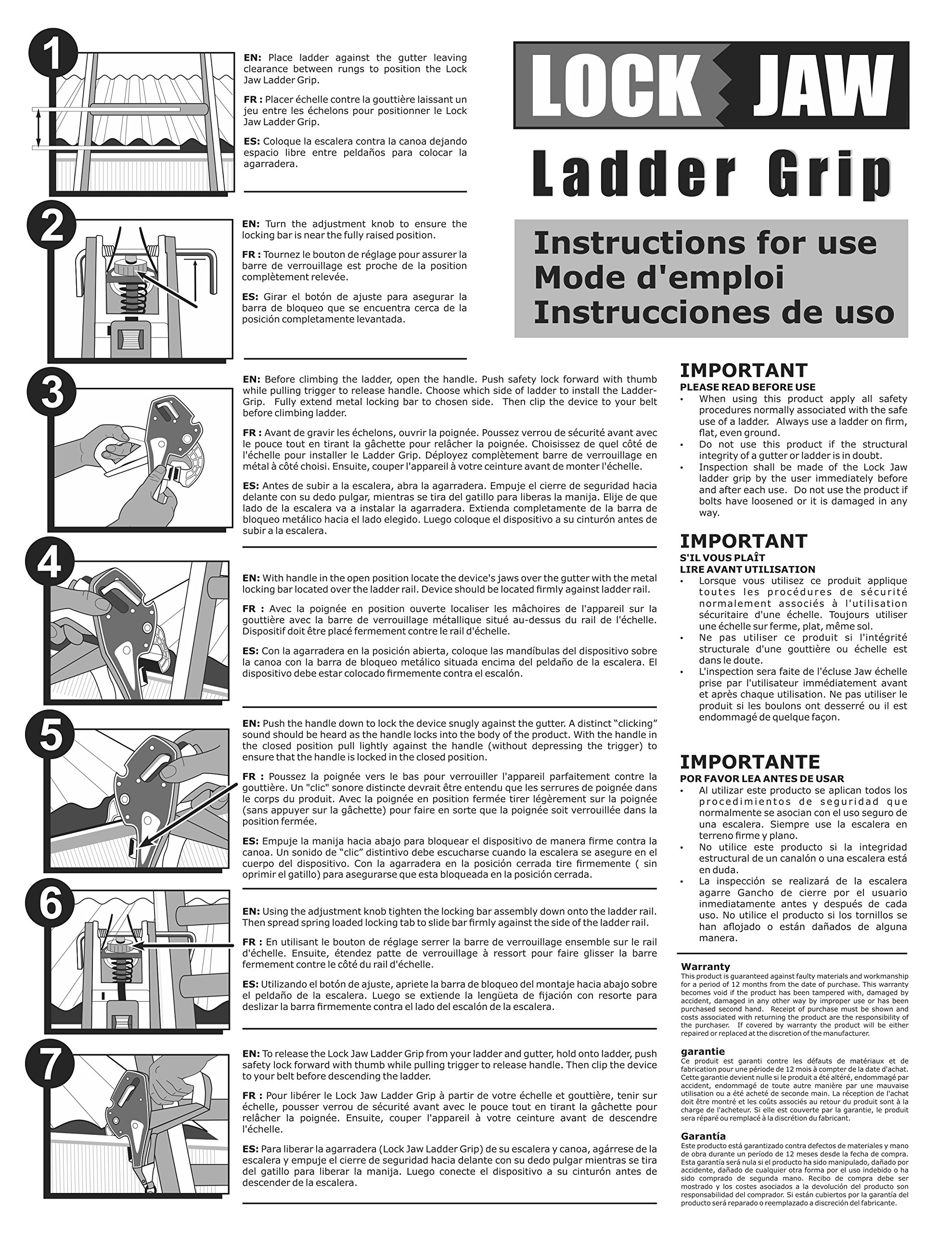 Lock Jaw Ladder Grip - Ladder Safety Clip - Feel secure on your ladders and climb safer