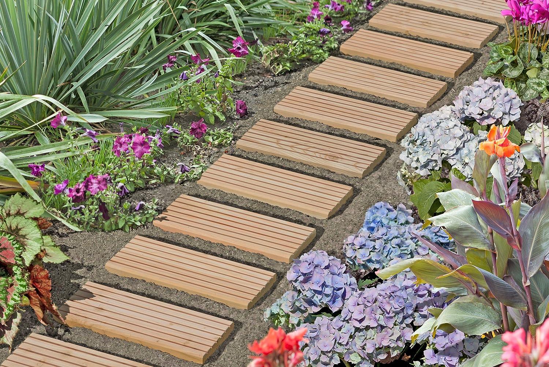 Voie de roulement 250 cm planche en bois carrelage passage de jardin piste Breite 25 cm Kiefer kdi dalles en bois de Gartenwelt Riegelsberger