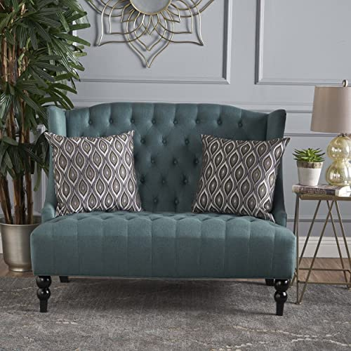 Christopher Knight Home Leora Tufted Winged Dark Teal Fabric Loveseat, Brown