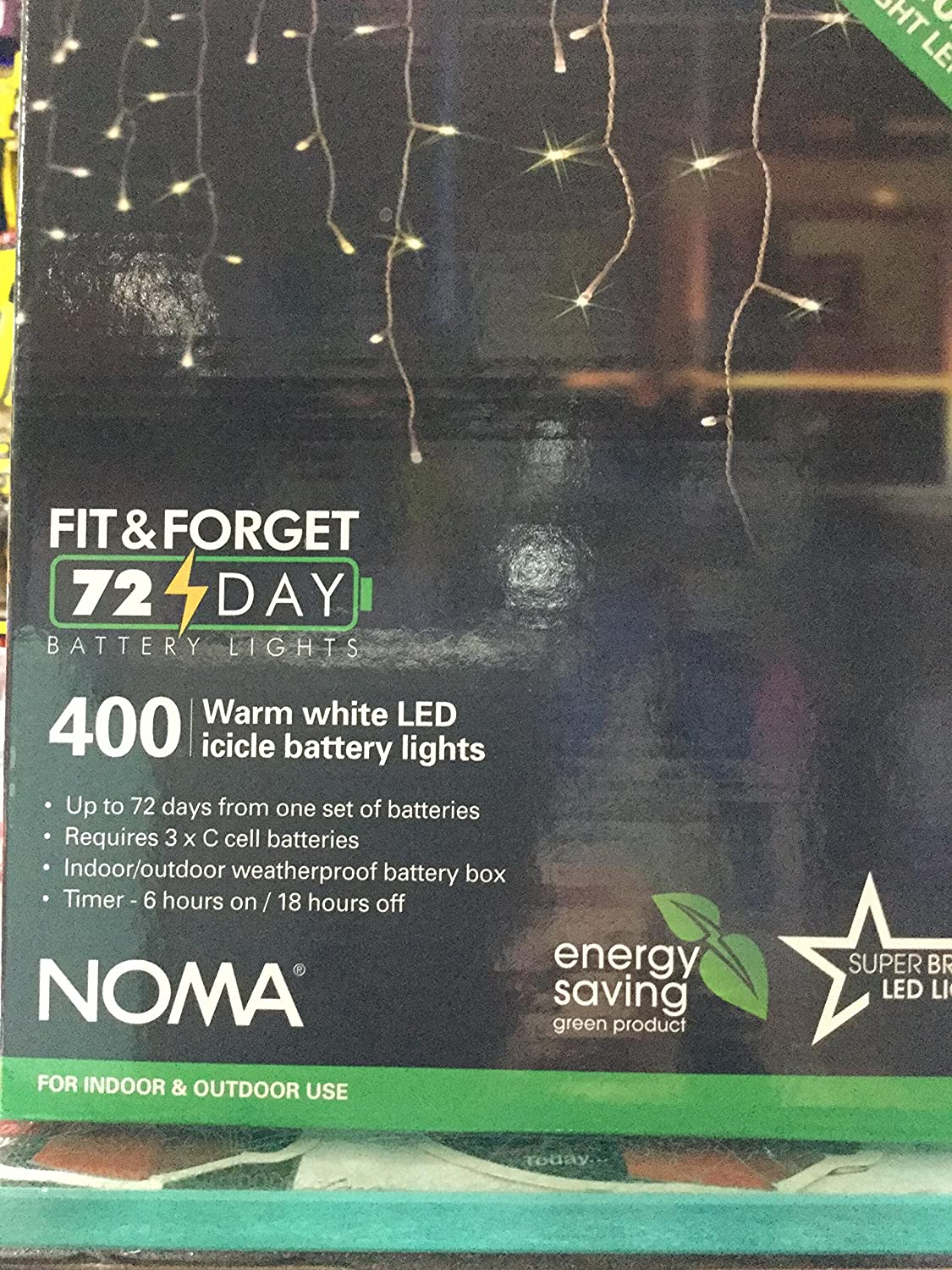 Noma 400 Fit & Forget Battery Multi Effect Icicle Lights Timer - Warm White