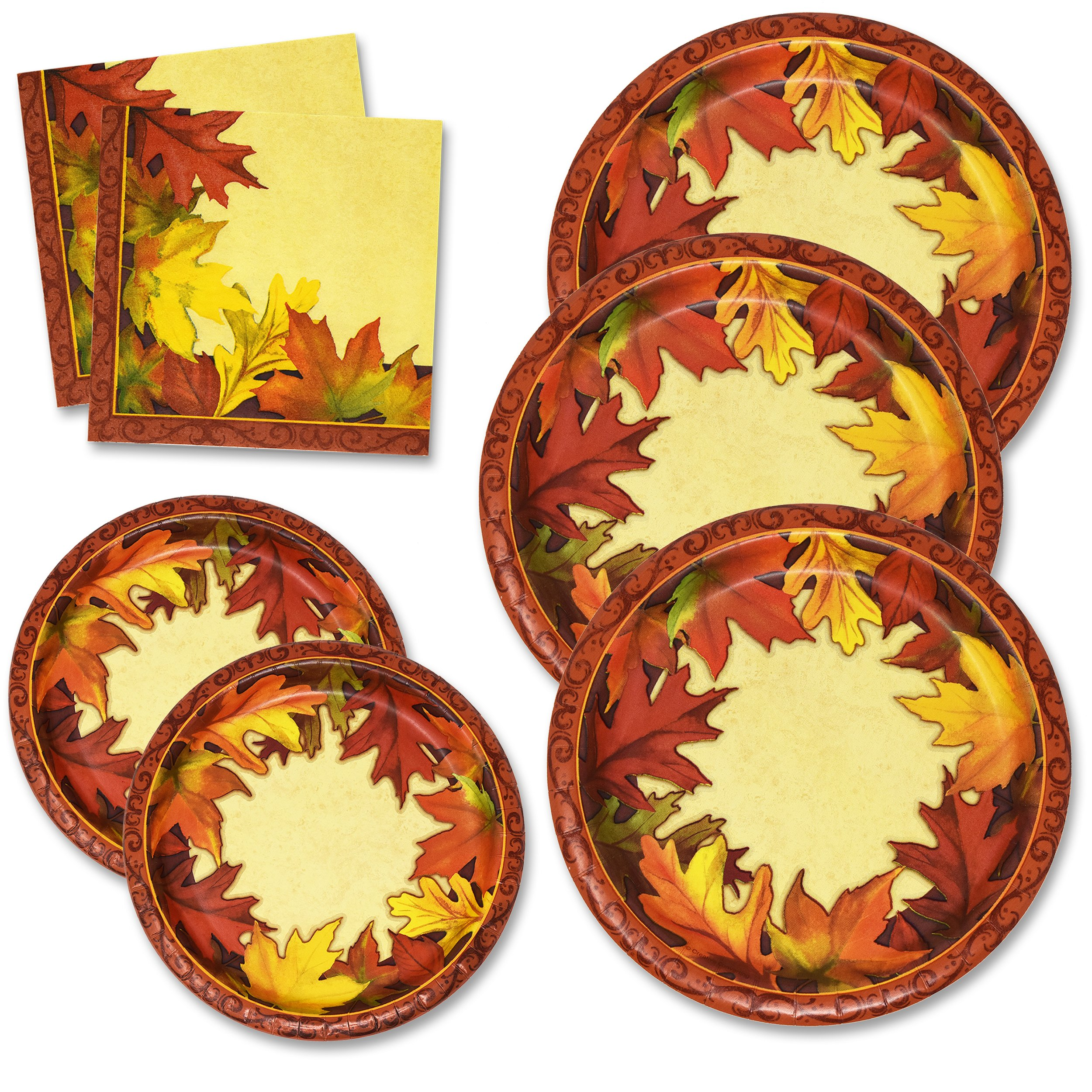 Thanksgiving Paper Plates and Napkins Set for 50 Guests includes 50 10'' Dinner Plates 50 6 5/8'' Dessert Plates 100 Luncheon Napkins for Fall Leaves Autumn Red Orange Tableware Party Kit Decorations by Gift Boutique