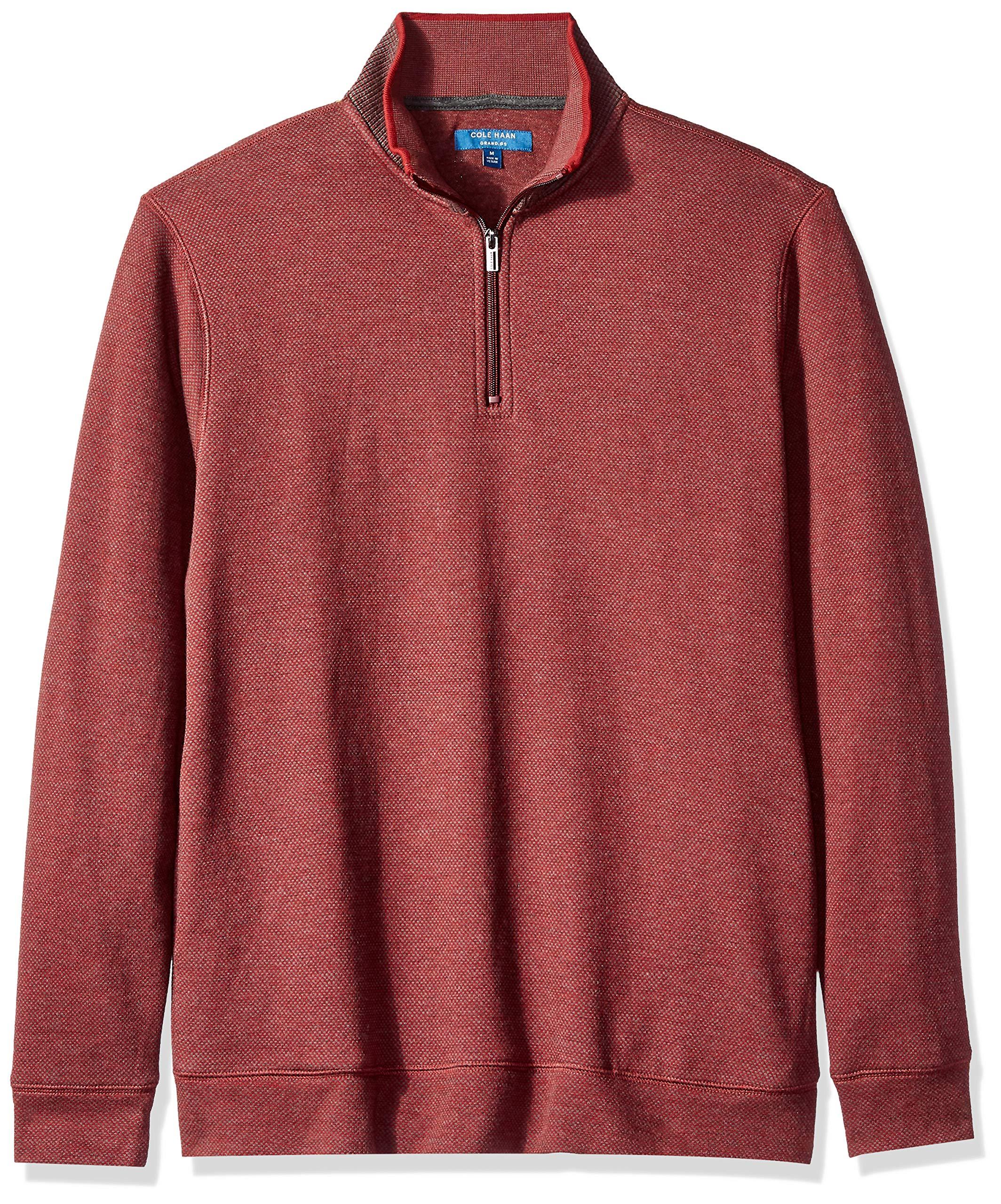 Cole Haan Men's Birdseye 1/4 Zip Knit Sweater, Syrah, M