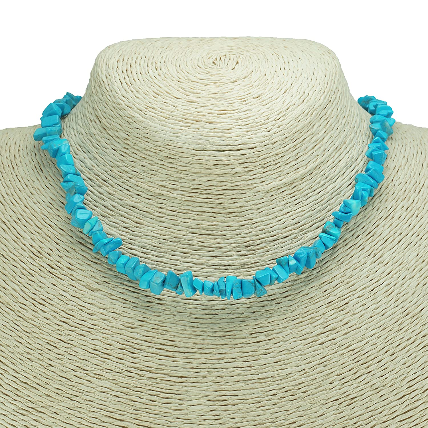 BlueRica Dyed Howlite Gemstone Chips Necklace Turquoise