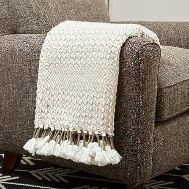 Rivet Modern Hand-Woven Stripe Fringe Throw Blanket, Soft and Stylish, 50  x 60 , Tan, Ivory