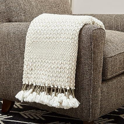 Amazoncom Rivet Modern Hand Woven Stripe Fringe Throw Blanket