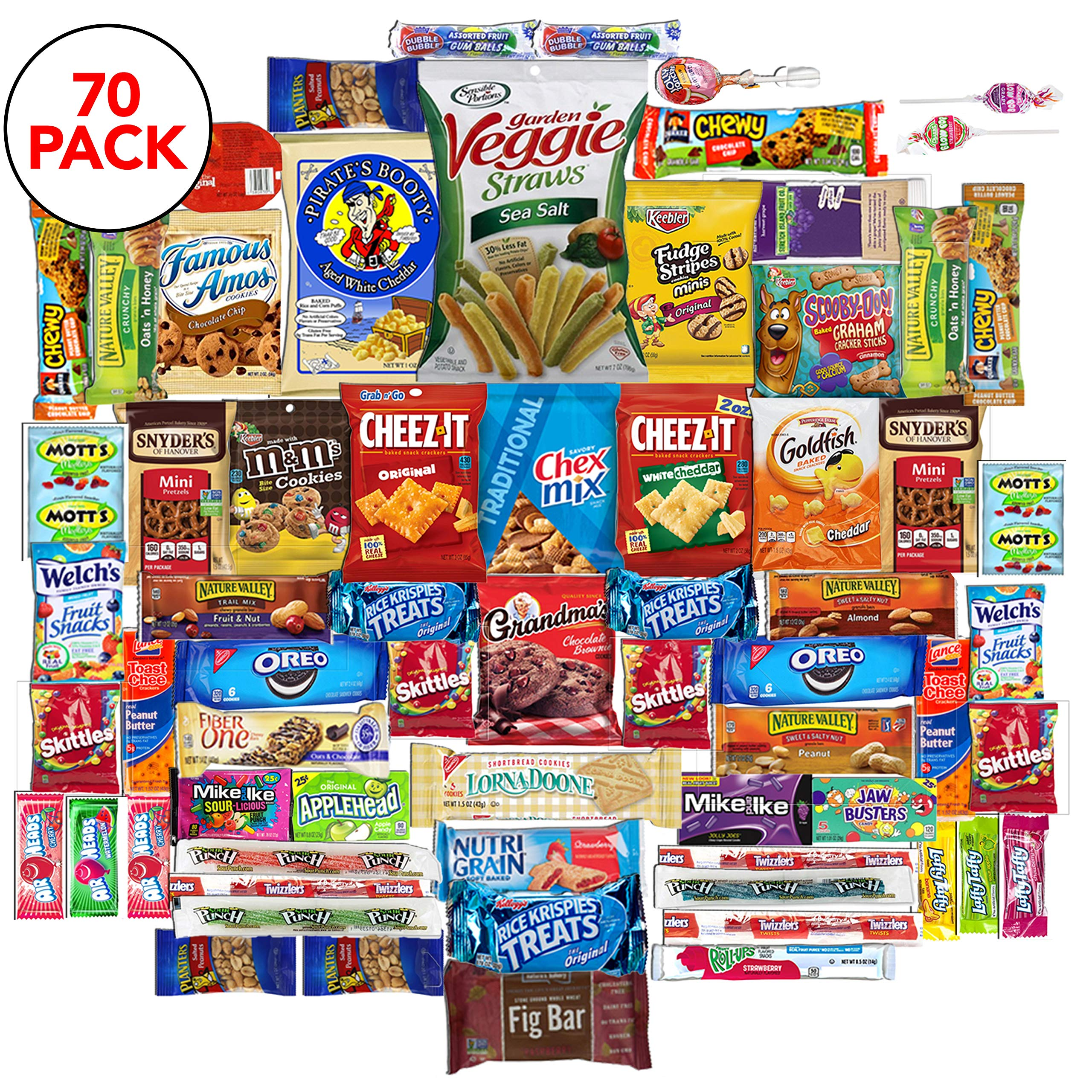 The Snack Bar - Snack Care Package (70 count) - Variety Assortment with American Candy, Fruit Snacks, Granola Bars, Chips, and More, Gift Snack Box for Lunches, Office, College Students, Final Exams.