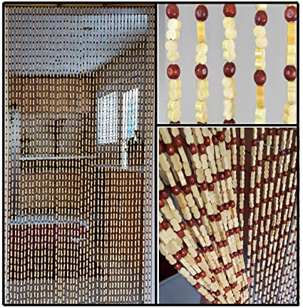 Amazon.com: BeadedString Natural Wood and Bamboo Beaded Curtain-45 on