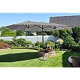 XL Leco Oval Sonnenschirm 2,70x4,60m Garten Markt Schirm Sonnenschutz grau