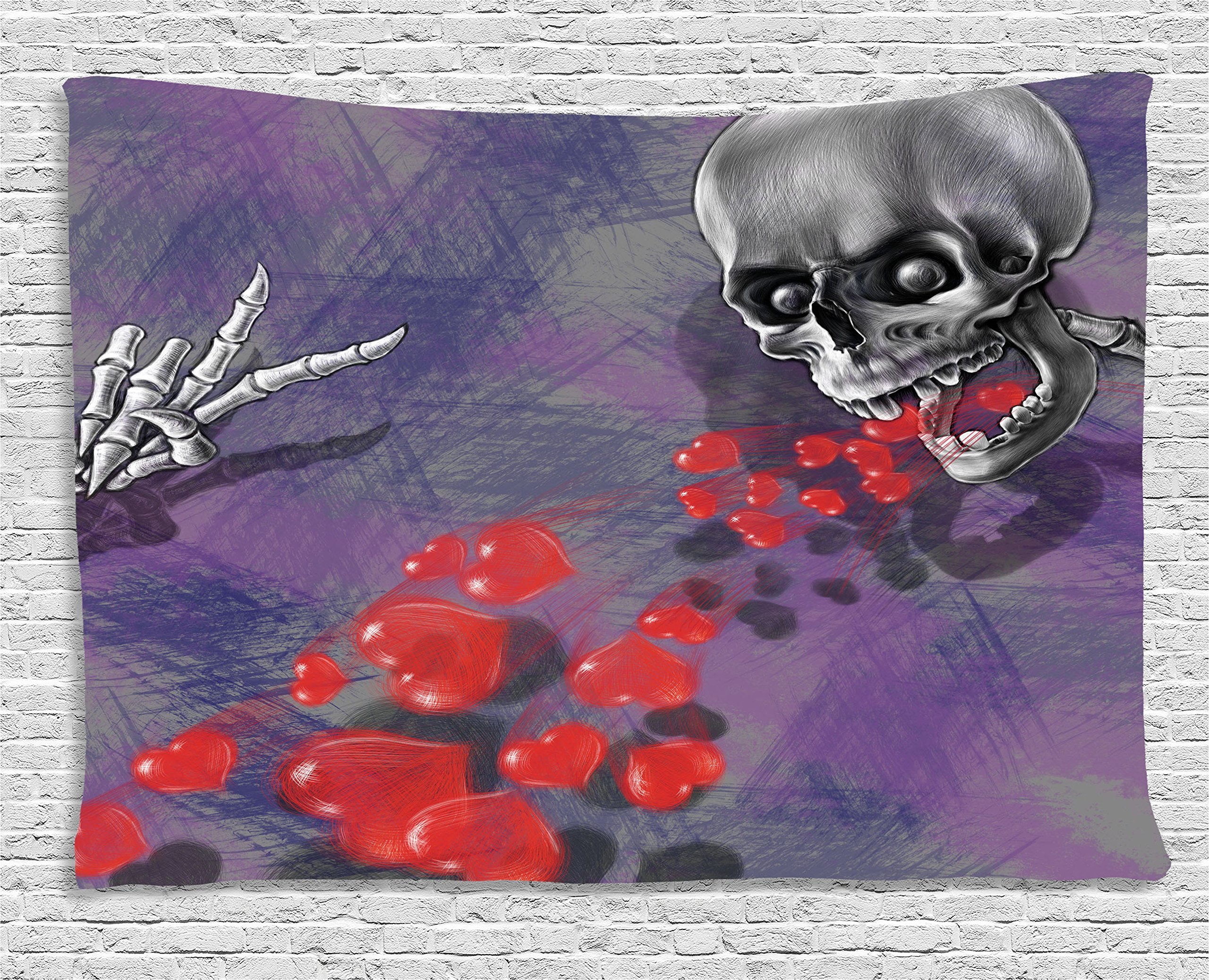 Ambesonne Skull Decor Tapestry, Skeleton in Love Throw Out Puke of Hearts Deadly Romantic Gesture Art, Wall Hanging for Bedroom Living Room Dorm, 60 W X 40 L inches, Grey Red and Purple