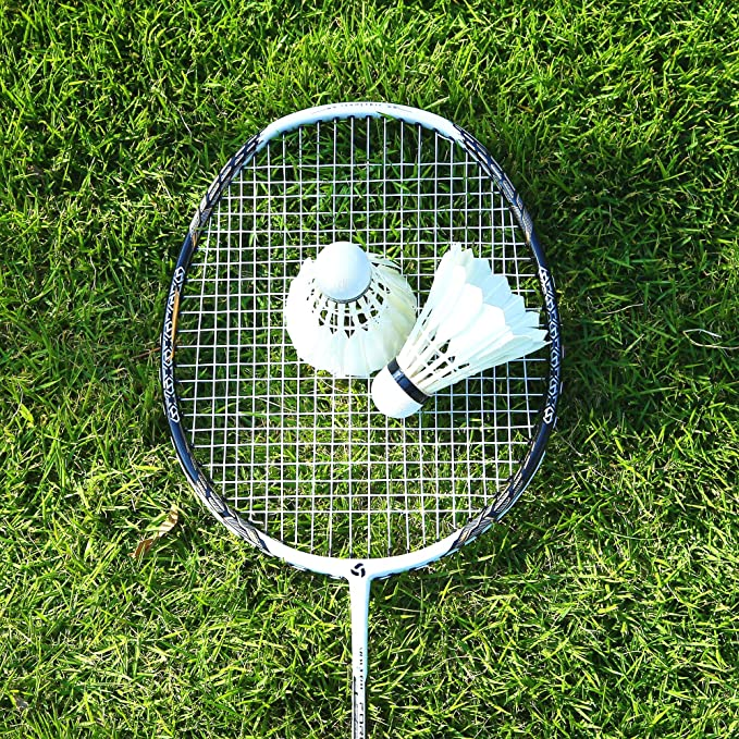 """Badminton 4 Player Game Set with 26/"""" Padded Grip Rackets 2 Durable Shuttlecocks"""