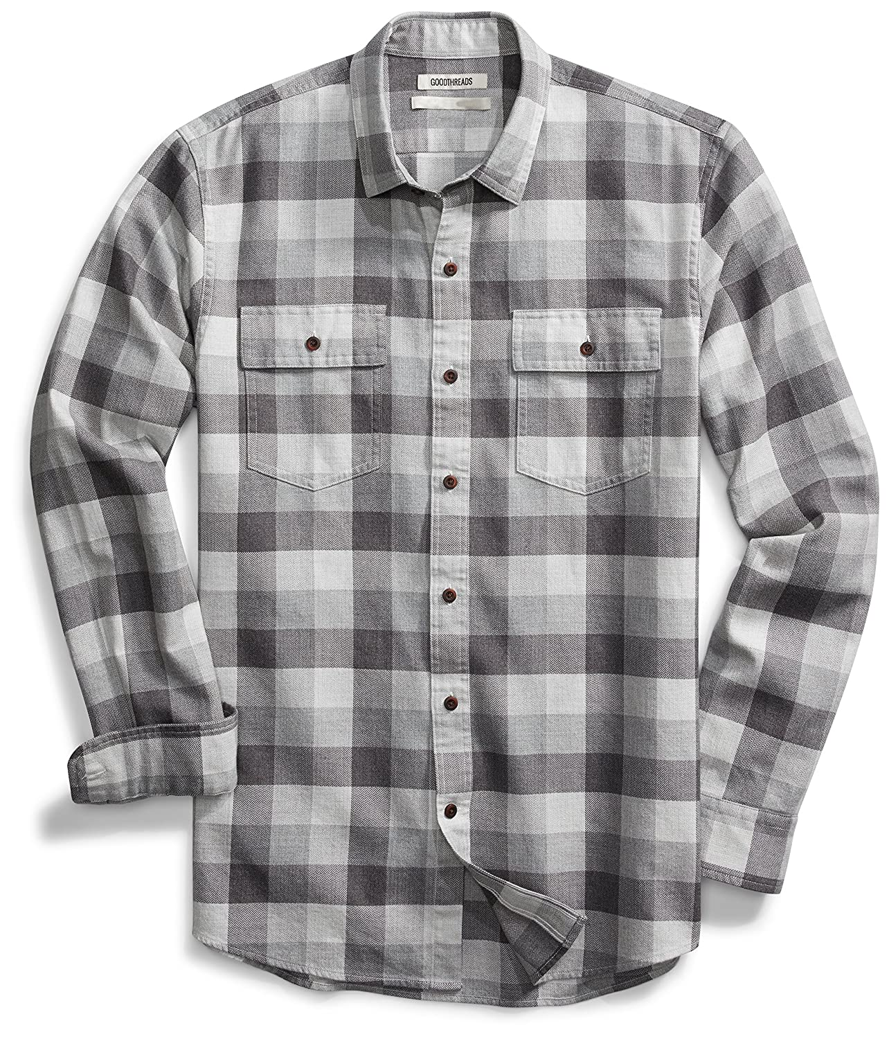 Goodthreads Men's Slim-Fit Long-Sleeve Buffalo Plaid Herringbone Shirt GT25041