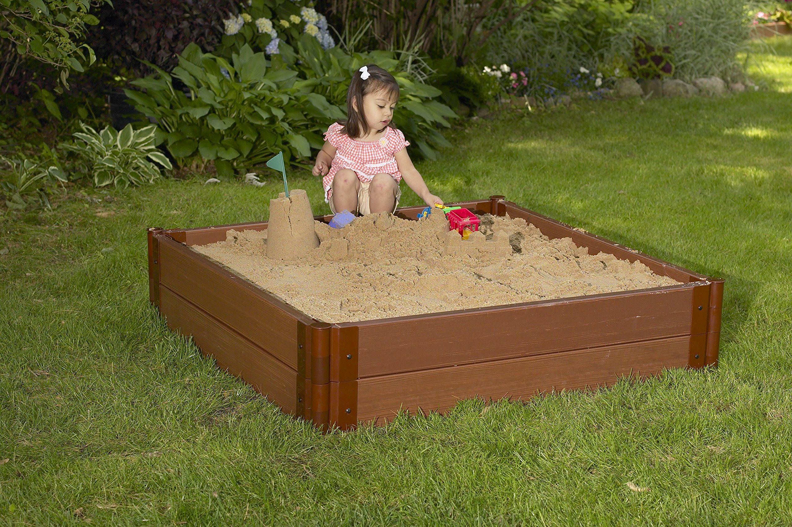 Frame It All 300001512 One inch Series Composite Square Sandbox Kit with Collapsible Cover, 4' x 4' x 11'' by Frame It All