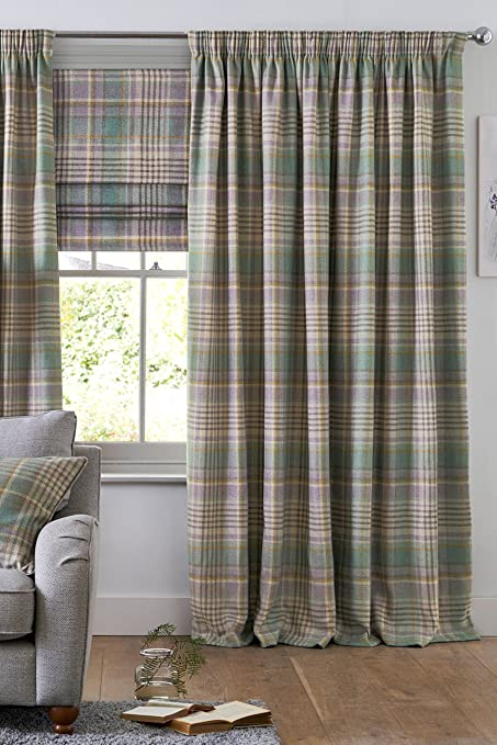 Next Curtains Opaque With Eyelets Woven Check Teal Padstow 168 X 229 Cm Green Blue